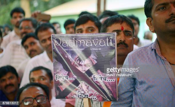 Indian members of the Rajput community take part in a protest against forthcoming Bollywood film 'Padmavati' in Mumbai on November 20 2017 Indian...