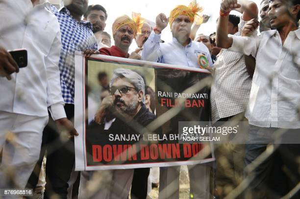 Indian members of the Rajput community take part in a protest against forthcoming Bollywood film 'Padmavati' in Hyderabad on November 21 2017 Indian...