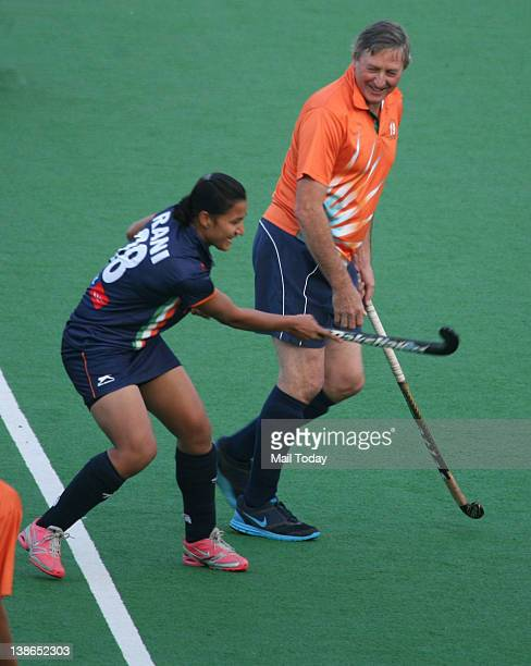 Indian men's coach Michael Nobbs with Rani Rampal member of Indian Women Hockey Team during a training session at the Major Dhyan Chand National...