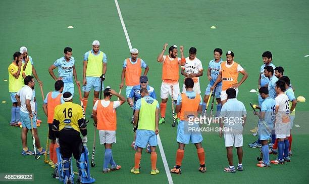 Indian mens Field Hockey team gather during a training session at The Major Dhyan Chand National Stadium in New Delhi on April 1 2015 The team is...