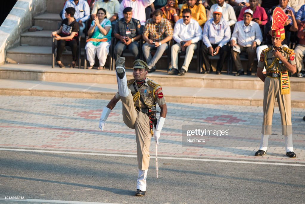 Indian military BSF march WagahAttari border ceremony in 8 August 2018 This ceremony takes place every evening before sunset at the Wagah and Attari..