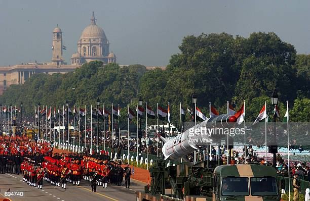 Indian military forces parade an Agni II missile during the Republic Day Parade January 26 2002 in New Delhi India The Agni II is the most powerful...