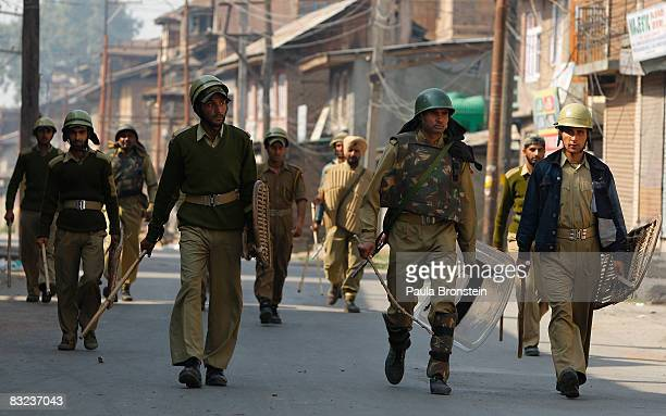 Indian military patrol the streets while tensions on the streets remain high October 12 2008 in Srinagar Kashmir India Violence remains a daily...