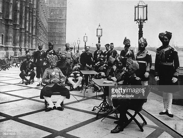 Indian military representatives at the coronation of King Edward VII in 1902 photographed on the Terrace of the Houses of Parliament with Unionist...