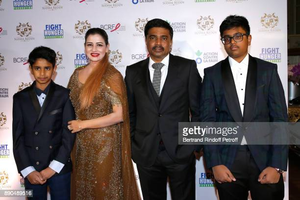 Indian millionaire Sudha Reddy her husband Krishna and their sons Pranav and Manar attend Sudha Reddy gives 135000 Euros to the Action Contre La Faim...