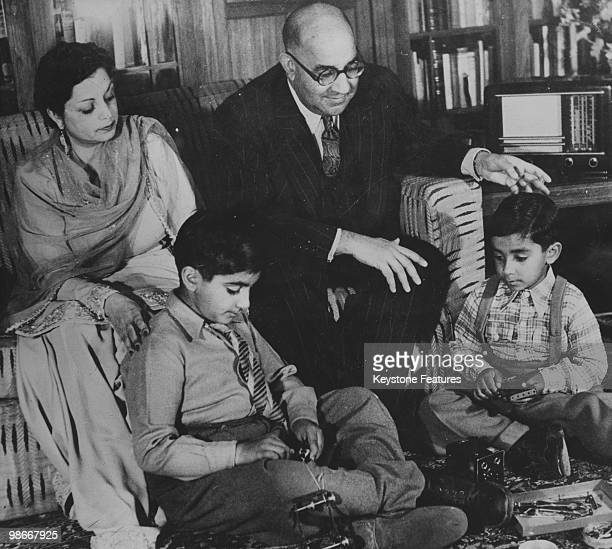 Indian Minister of Finance Liaquat Ali Khan at home with his wife Ra'ana Liaquat Ali Khan and their sons Ashraf and Akbar June 1947 After the...