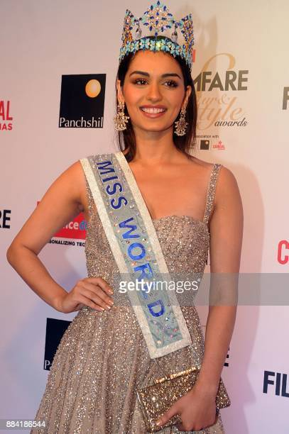 Indian Miss World winner Manushi Chhillar poses for a photograph during the Filmfare Glamour Style Awards 2017 in Mumbai on December 1 2017 / AFP...