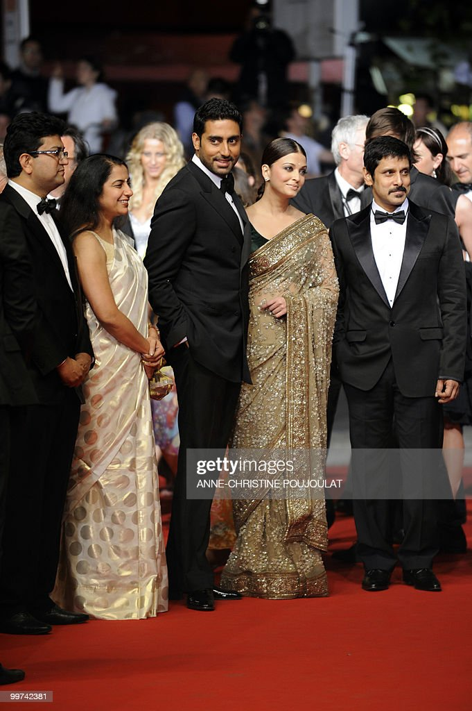 Indian model Aishwarya Rai (2ndR) and husband Abhishek Bachchan (3rdL) arrive for the screening of 'Outrage' presented in competition at the 63rd Cannes Film Festival on May 17, 2010 in Cannes.