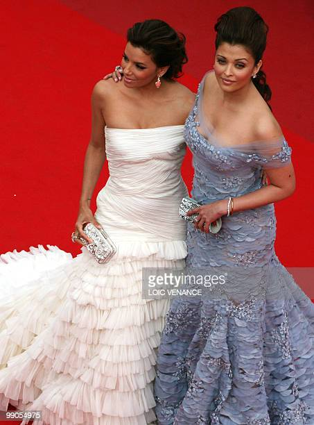 Indian model Aishwarya Rai and US model and actress Eva Longoria arrive for the opening ceremony and screening of 'Robin Hood' presented out of...