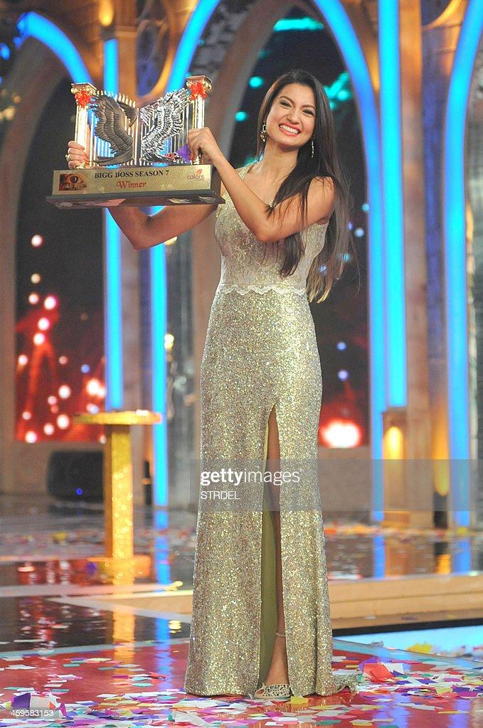 Indian model and actress Gauhar Khan poses with the Bigg