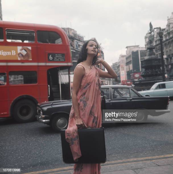 Indian model and actress Persis Khambatta pictured in Piccadilly Circus London in March 1973