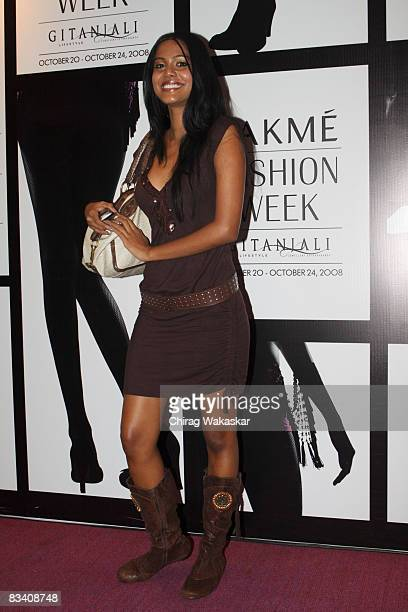 Indian Model and former Miss India Natasha Suri arrives for of the Lakme Fashion Week 2008 at NCPA on October 23 2008 in Bombay India