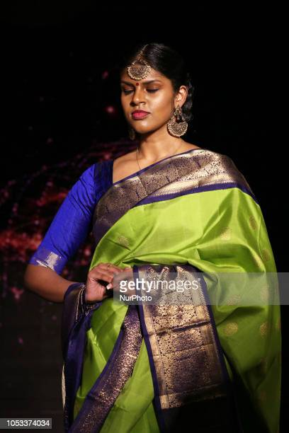 Indian model wearing an elegant and ornate saree during a South Asian bridal fashion show held in Scarborough Ontario Canada The fashion show...
