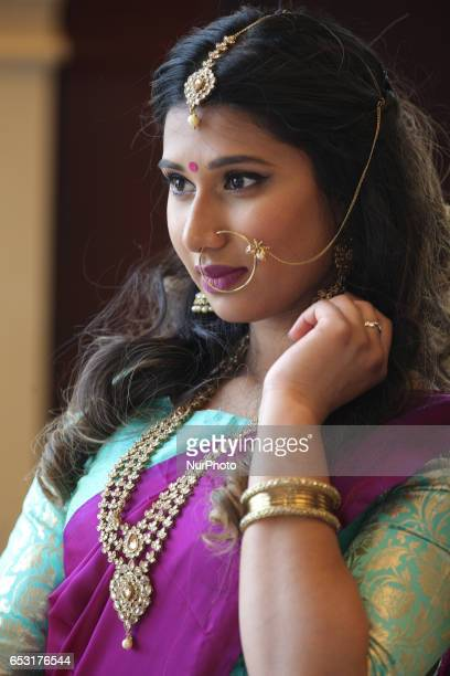 Indian model wearing an elegant and simple bridal saree during a South Asian bridal show held in Scarborough Ontario Canada