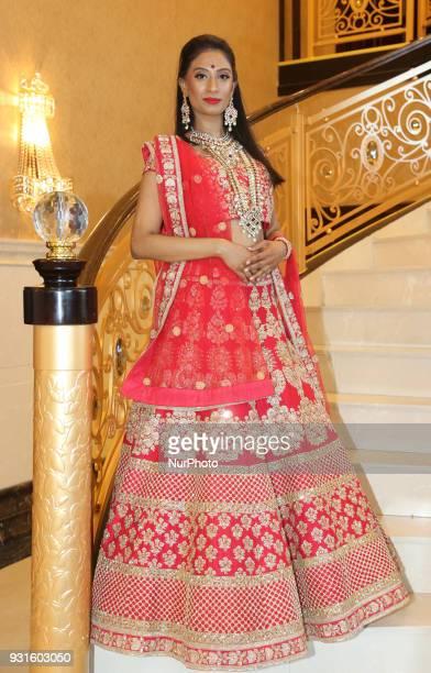 Indian model wearing an exquisite bridal lehenga in Scarborough Ontario Canada