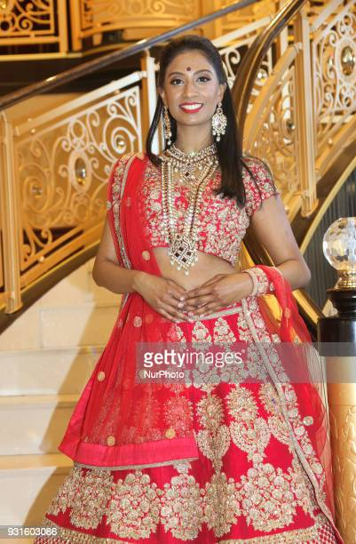 Indian model wearing an exquisite bridal lehenga in Scarborough Ontario Canada