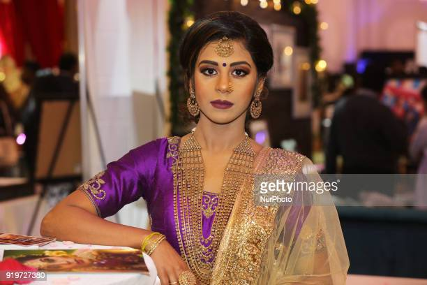 Indian model wearing an exquisite outfit during a South Indian and Tamil bridal fashion show held in Toronto Ontario Canada on February 17 2018