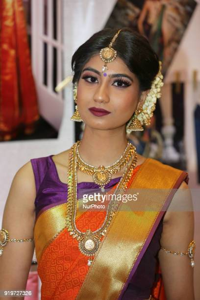 Indian model wearing an exquisite sari during a South Indian and Tamil bridal show held in Toronto Ontario Canada on February 17 2018