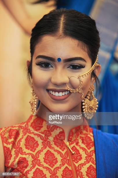 Indian model wearing elegant bridal jewellery during a South Asian bridal show held on 14 March 2017 in Scarborough Ontario Canada