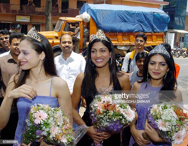 Indian models and winners of the recently concluded Miss India 2005 contest L/R Amrita Thappar 'Universe' Sindhura Gadde 'World' and Niharika Singh...