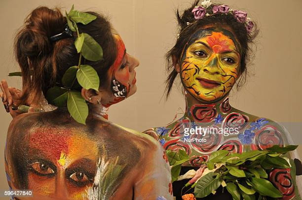 Indian Models participate at The Live Body Penting Art show organized by Creative Dream in Kolkata India on 27 August 2016 Body painting or sometimes...