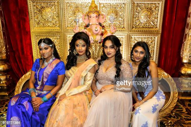 Indian models wearing exquisite outfits during a South Indian and Tamil bridal show held in Toronto Ontario Canada on February 17 2018