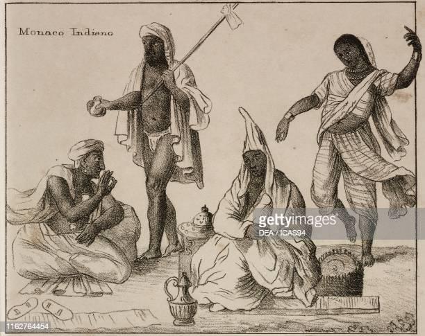 Indian monk Brahmins Bayadere India lithograph from Galleria universale di tutti i popoli del mondo ossia storia dei costumi religioni riti governi...