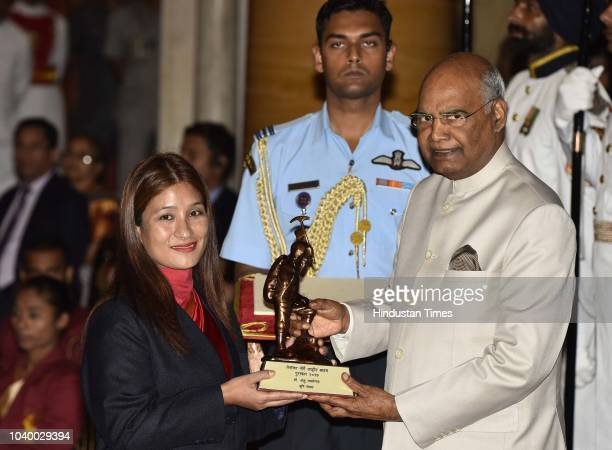 Indian mountaineer Dr Anshu Jamsenpa receives the Tenzing Norgay National Adventure Award 2017 for her achievements in mountaineering from President...