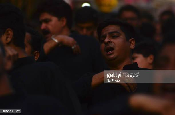 Indian mourn shiite muslims take part in a religious procession on Arbeen 40th day after Ashura in Allahabad on October 30 2018 Arbaeen which marks...