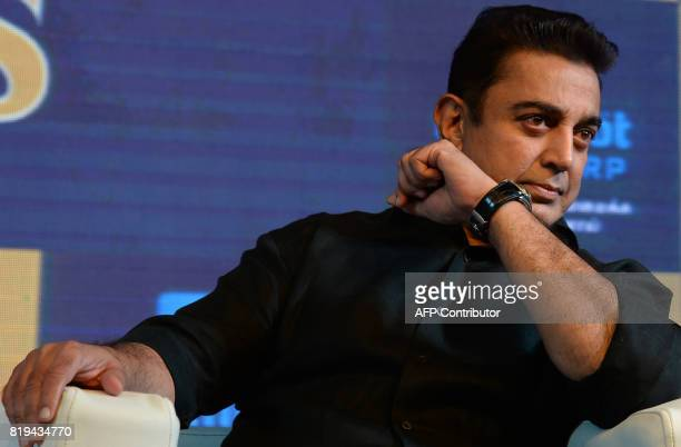 Indian movie actor Kamal Hassan looks on during the launch of the 'Tamil Thalaiva' Pro Kabbadi team in Chennai on July 20 2017 / AFP PHOTO / ARUN...