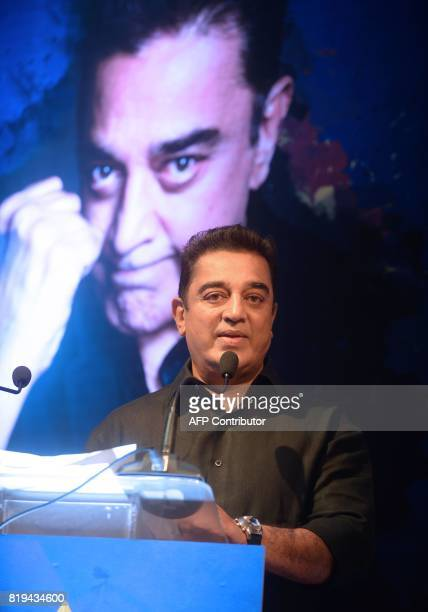 Indian movie actor Kamal Hassan speaks during the launch of the 'Tamil Thalaiva' Pro Kabbadi team in Chennai on July 20 2017 / AFP PHOTO / ARUN SANKAR