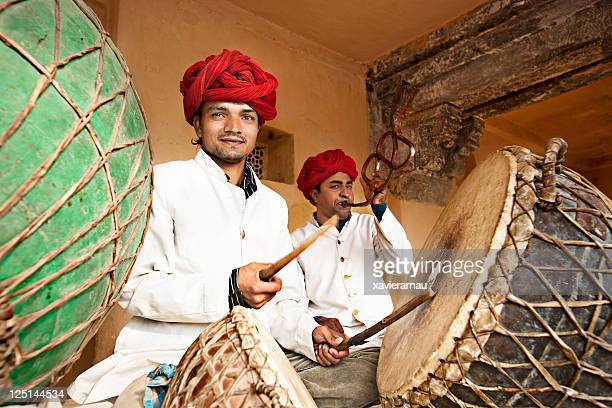 indian musicians - amber fort stock pictures, royalty-free photos & images