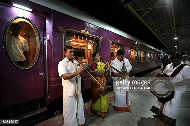 Indian musicians welcome guests to The Golden Chariot train at Yesvanthpur Station in Bangalore on April 07 2008 The Golden Chariot which is promoted...
