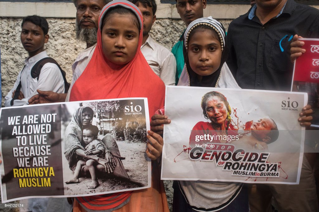 Indian Muslim children protesting against the Rohingya