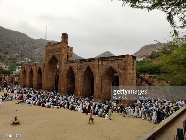 Indian Muslim devotees Offer Friday prayers at the AdhaiDin Ka Jhonpra mosque During the URS Festival in Ajmer in the Indian state of Rajasthan on...