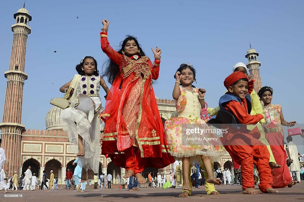 Indian Muslim kids are seen during Eid Al-Adha (Feast of Sacrifice) at Jama Masjid in New Delhi, India on September 13, 2016.