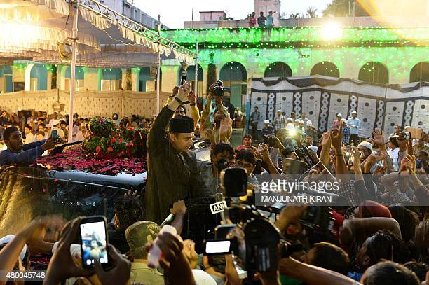 Indian Muslim leader of All India MajliseIttihad alMuslimin and member of the Legislative Assembly of the state of Telangana Akbaruddin Owaisi shouts...