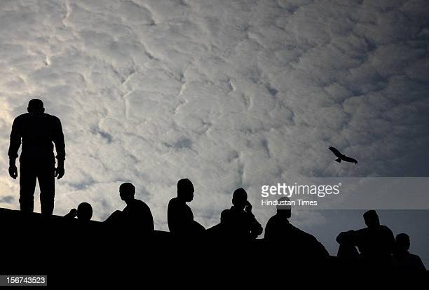 NEW DELHI INDIA AUGUST 20 Indian Muslim on the roof at Jama masjid to offer Eid alFitr prayer which marks the end of the holy month of Ramadan on...