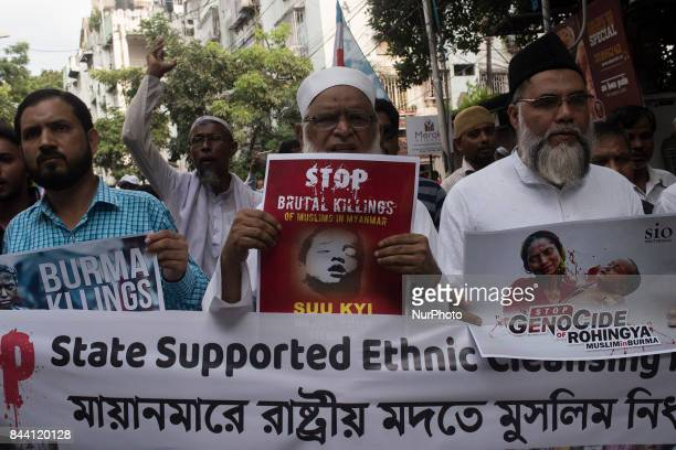 Indian Muslim Pepole protesting against the Rohingya genocide of Myanmar in Kolkata India on September 2017 People of Kolkata has organized a protest...
