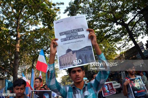 Indian Muslim students during a protest rally against the United States President Donald Trump decision to declare Jerusalem as the capital of Israel...