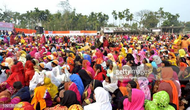 Indian Muslim women participate in a rally to protest the Citizenship Amendment Act at Rupahi in Nawgaon, Assam, India on February 16, 2020.