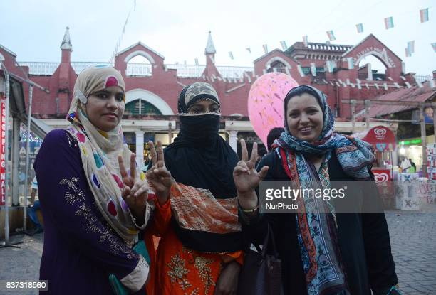 Indian Muslim women shows the victory sign after the historical judgement of Supreme Court on Triple Talaq has been declared unconstitutional on...
