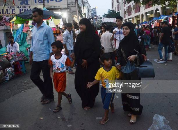 Indian Muslim women walks through the market after the historical judgement of Supreme Court on Triple Talaq has been declared unconstitutional on...