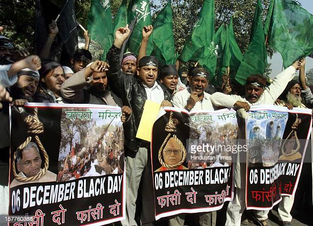 Indian Muslims and members of Ali Sena stage protest to mark the 20th anniversary of the Babri mosque demolition in Ayodhya on December 6 2012 in New...