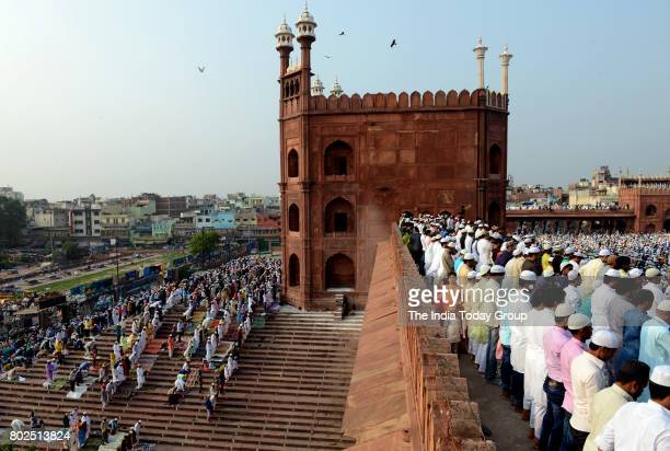 Indian Muslims during Eid ulFitr at Jama Masjid Mosque in New Delhi