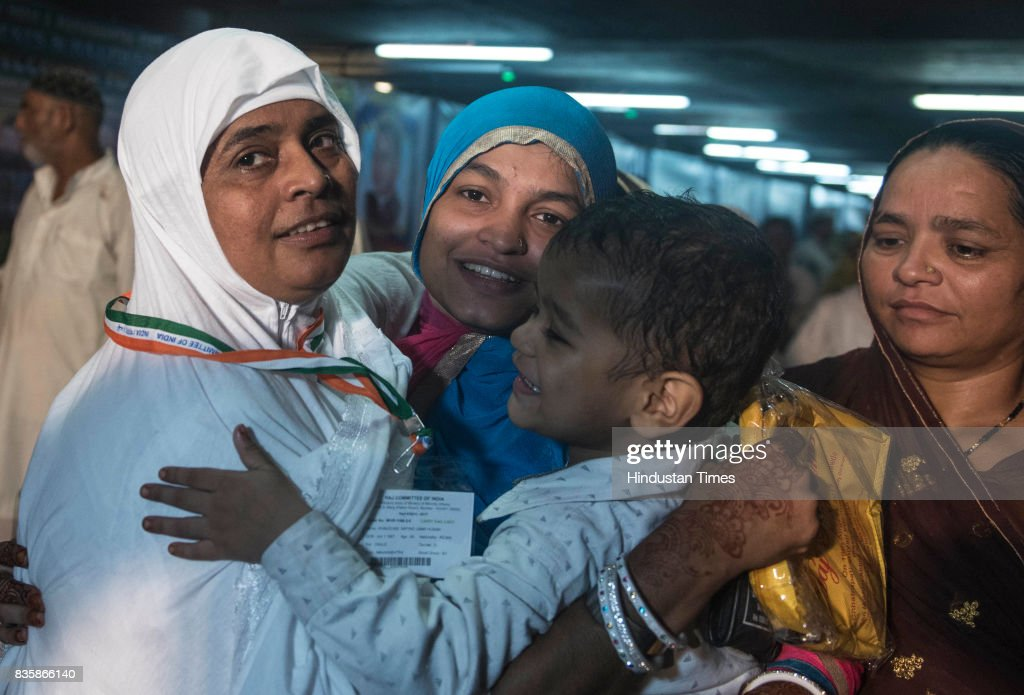 Indian Muslims during their first flight to Haj at Chhatrapati Shivaji International Terminus, on August 18, 2017 in Mumbai, India. A large number of people, including representatives of political parties and officials, came to see off the pilgrims at the airport.