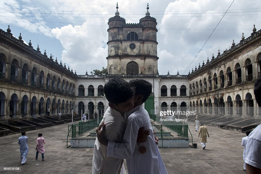 Indian Muslims exchange greetings after performing Eid Al-Adha (Feast of Sacrifice) prayer in Hooghly district of West Bengal, India on September 13, 2016.