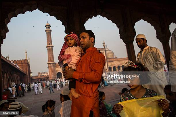 Indian Muslims gather for Eid alAdha prayers at Jama Masjid on October 27 2012 in New Delhi India Eid alAdha also known as the Feast of Sacrifice...