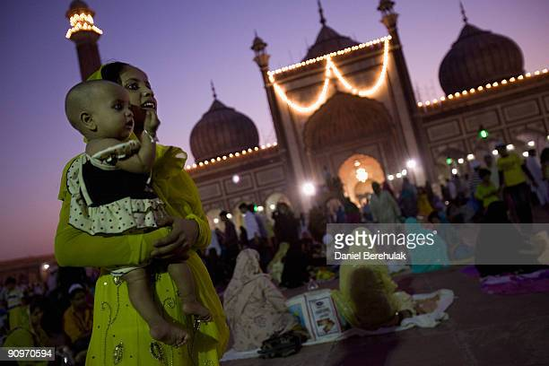 Indian Muslims gather for evening prayers on one of the last days of Ramadan at the Jama Masjid on September 19 2009 in New Delhi India Muslims all...