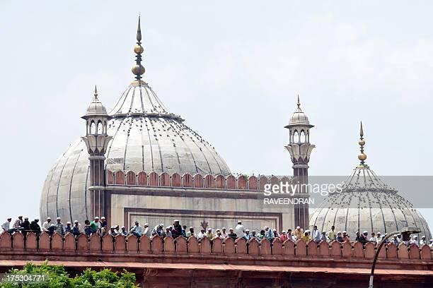 Indian Muslims gather for JummatUlVida prayers on the last Friday of Ramadan at the historic Jama Masjid in New Delhi on August 2 ahead of the Eid...